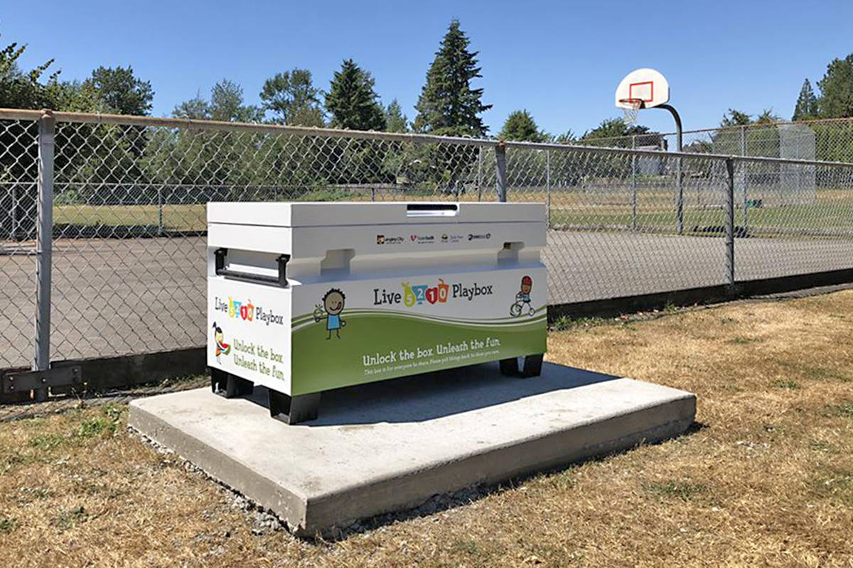 One of the Live 5-2-1-0 Playboxes at five park locations in Langley City. Supplied