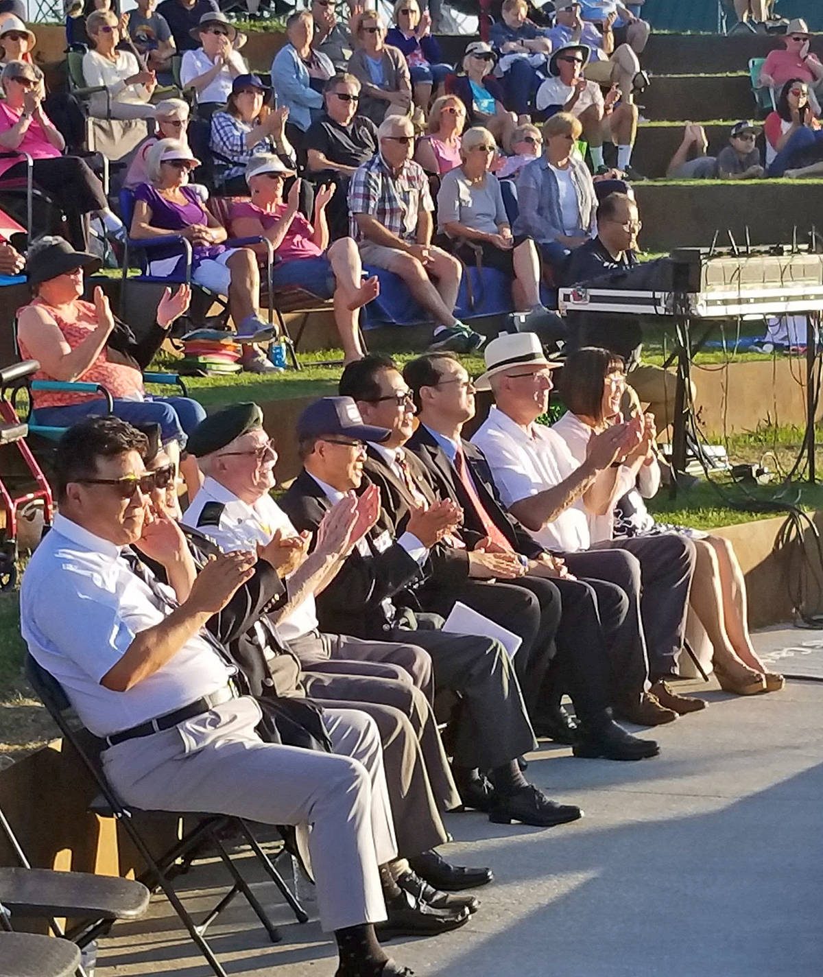 Members of the Gapyeong Stone Committee, Korean War veterans, and dignitaries joined Township of Langley Mayor Jack Froese for the announcement of a Korean War memorial in the Derek Doubleday Arboretum during the Noreum Machi concert at the Willoughby Community Park Amphitheatre on July 18. Submitted photo