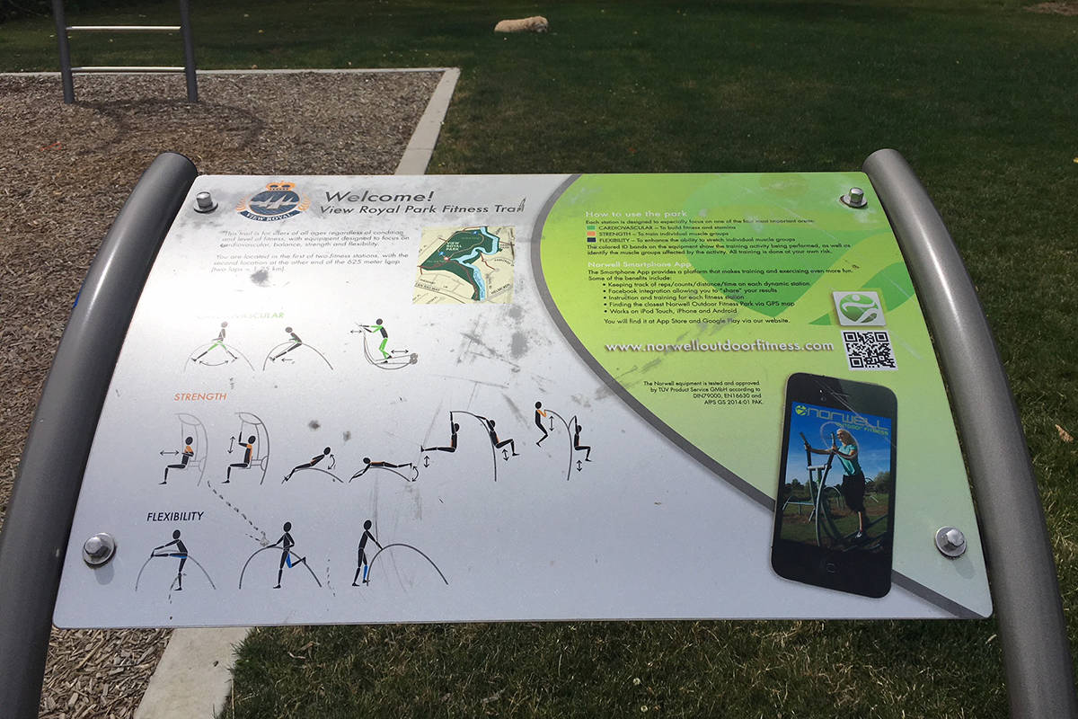 A sign at View Royal Park was removed after it was discovered a quick response code redirected to a porn site. (Photo courtesy of Keith Davies)