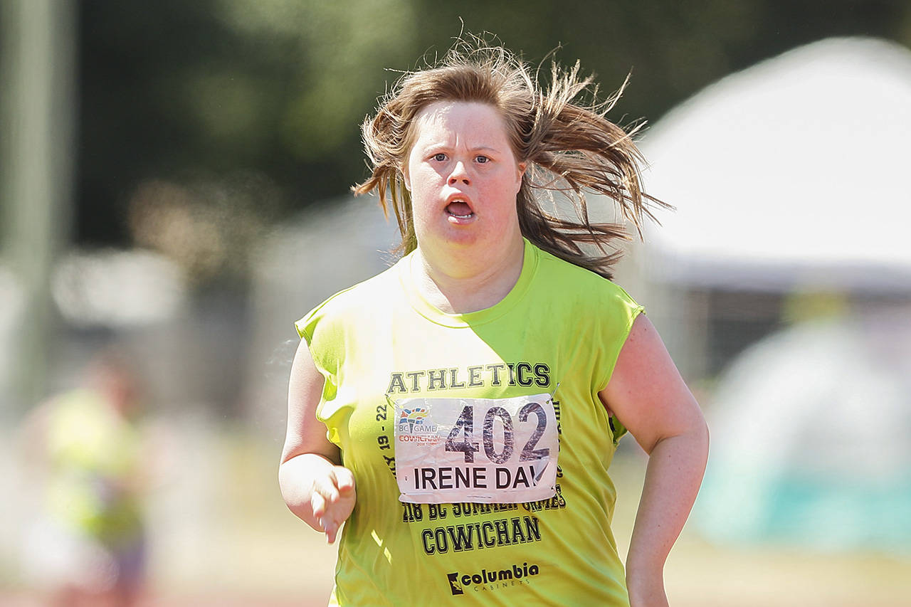 Tawny Irene Daw competes in the Special Olympics 200 Meter Dash the Cowichan Sportsplex at the BC Summer Games. (Arnold Lim/Black Press)