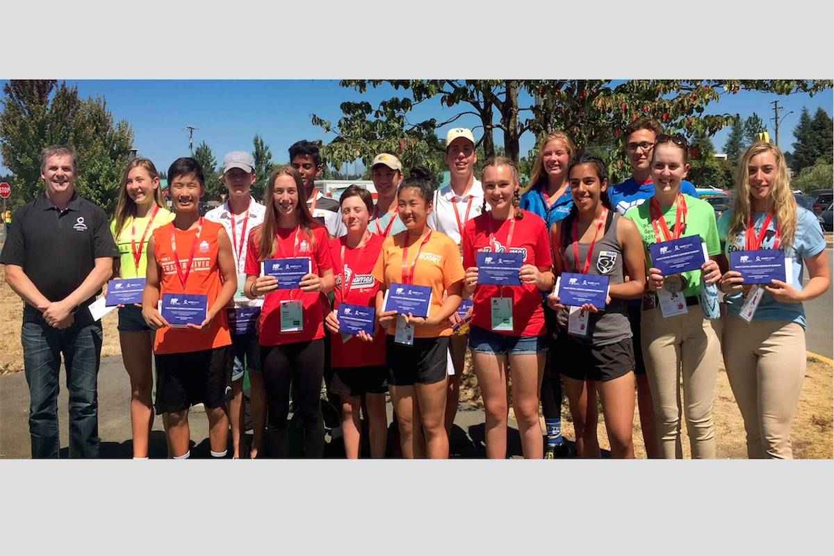 Sixteen athletes were awarded with a Coast Capital Savings Leadership Bursary at the closing ceremony of the 2018 BC Summer Games in the Cowichan Valley. (BC Games Society)