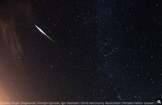 Perseid meteor captured by amateur astronomers Stojan Stojanovski, Kristijan Gjoreski and Igor Nastoski of the Ohrid Astronomy Association in Ohrid, Macedonia during the peak of the Perseid meteor shower on Aug. 12-13, 2015. On Saturday, Aug. 11, visitors are invited to view the annual celestial event from the darkness of Aldergrove Regional Park in Abbotsford.