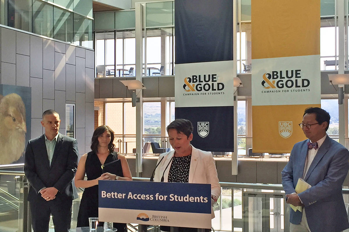 B.C. Advanced Education, Skills and Training announces new post-graduate scholarship initiative for UBC at the UBC Okanagan campus Wednesday morning. Photo: Barry Gerding/Black Press