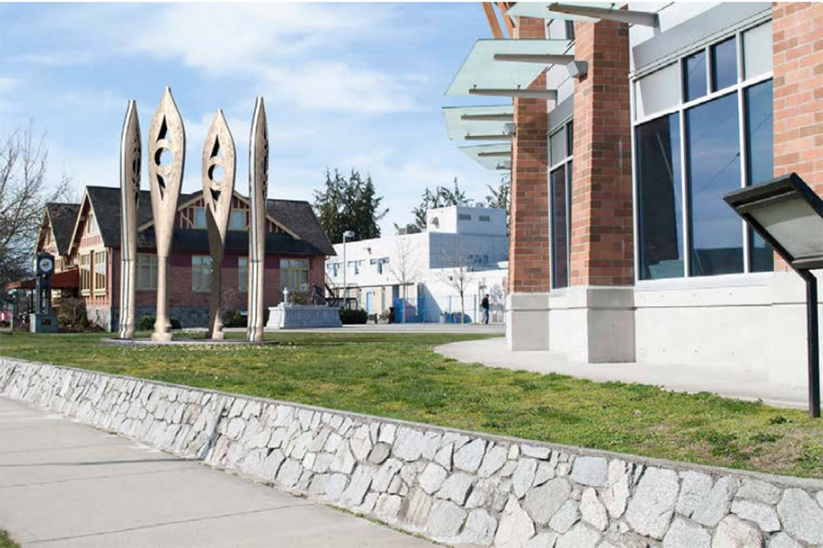 """""""The Rivers that Connect Us,"""" by K'wy'i'y'e Spring Salmon Studio, will stand 16 feet tall. (City of Surrey)"""