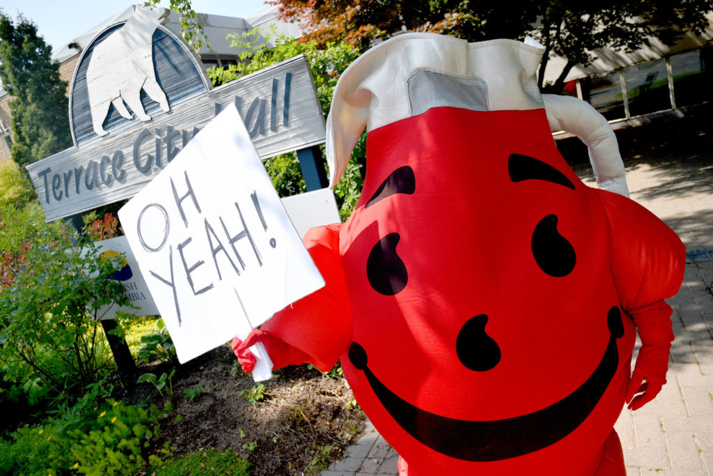 Kitimat comedian Danny Nunes is running to be the next mayor of Terrace — dressed in a red Kool-Aid Man costume with the goal of attracting more young voters. (Quinn Bender photo)                                Kitimat comedian Danny Nunes is running to be the next mayor of Terrace — dressed in a red Kool-Aid Man costume with the goal of attracting more young voters. (Quinn Bender photo)