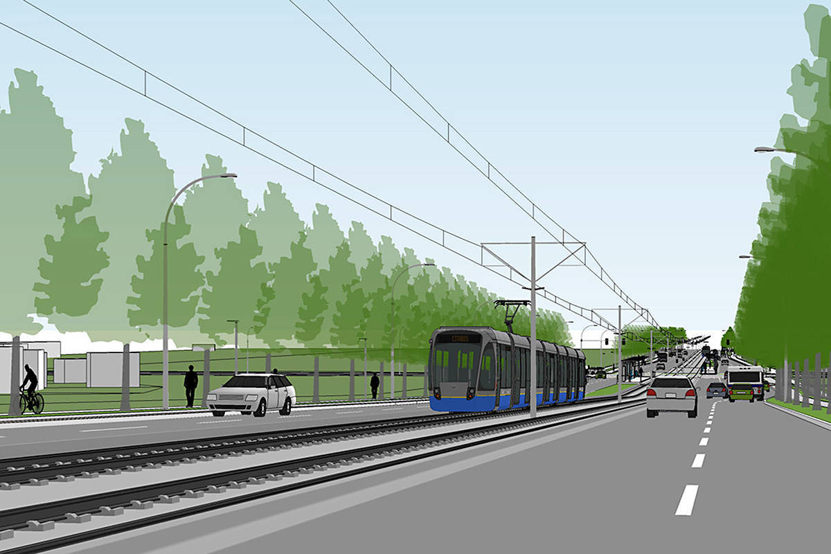 Drawing shows the type of LRT proposed for Surrey-to-Langley LRT line. File