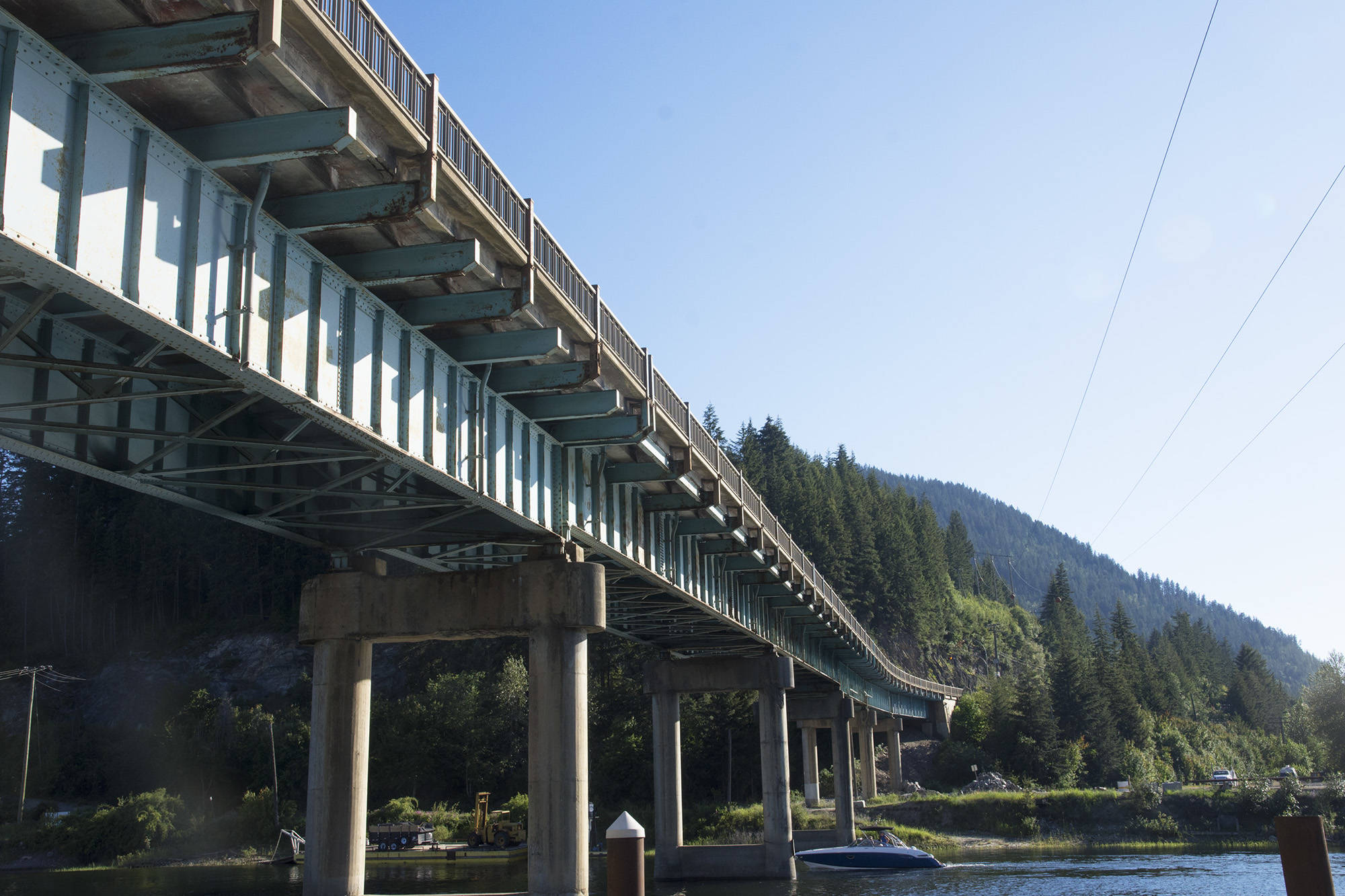 The Bruhn Bridge, where the Trans-Canada Highway crosses the Sicamous Channel. (File Photo)