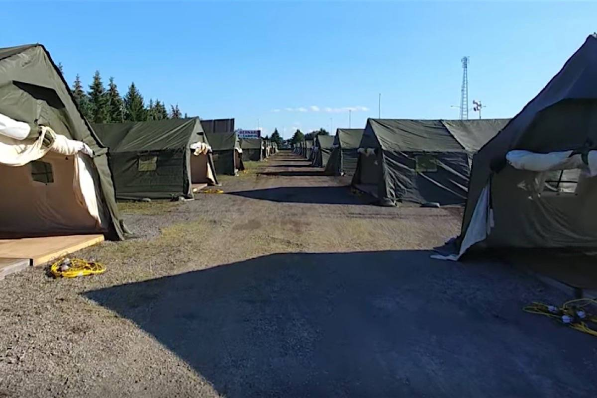 A camp for U.S. border crossers is established near the Quebec border, August 2017. (YouTube)