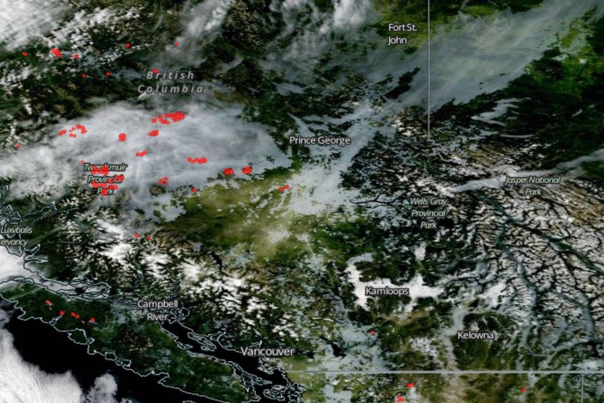 A look at B.C. wildfire smoke from space