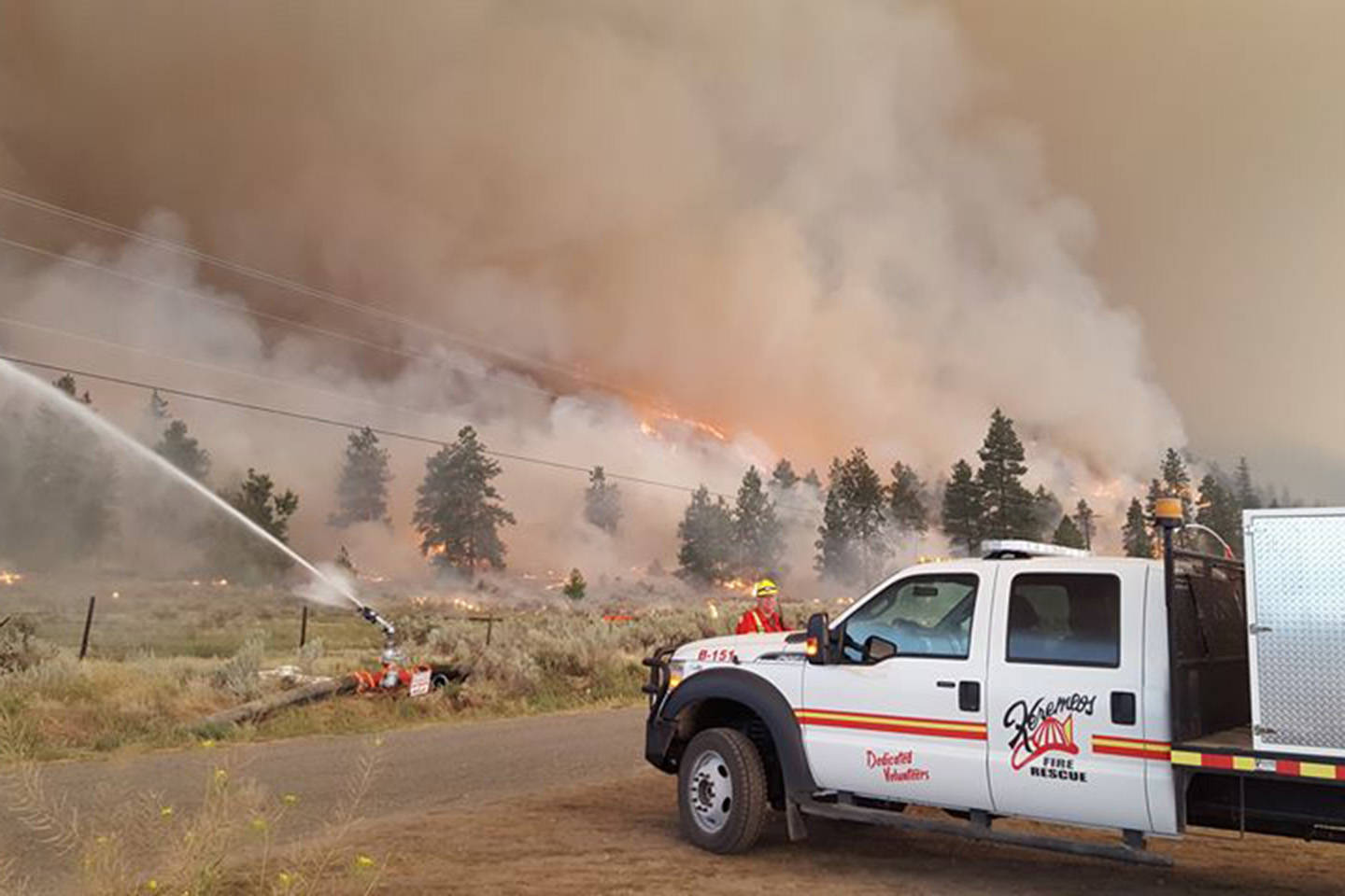 Submitted                                The Keremeos Volunteer Fire Department has worked alongside the BC Wildfire crews doing water suppression to save buildings, putting out spot fires, and patrolling.