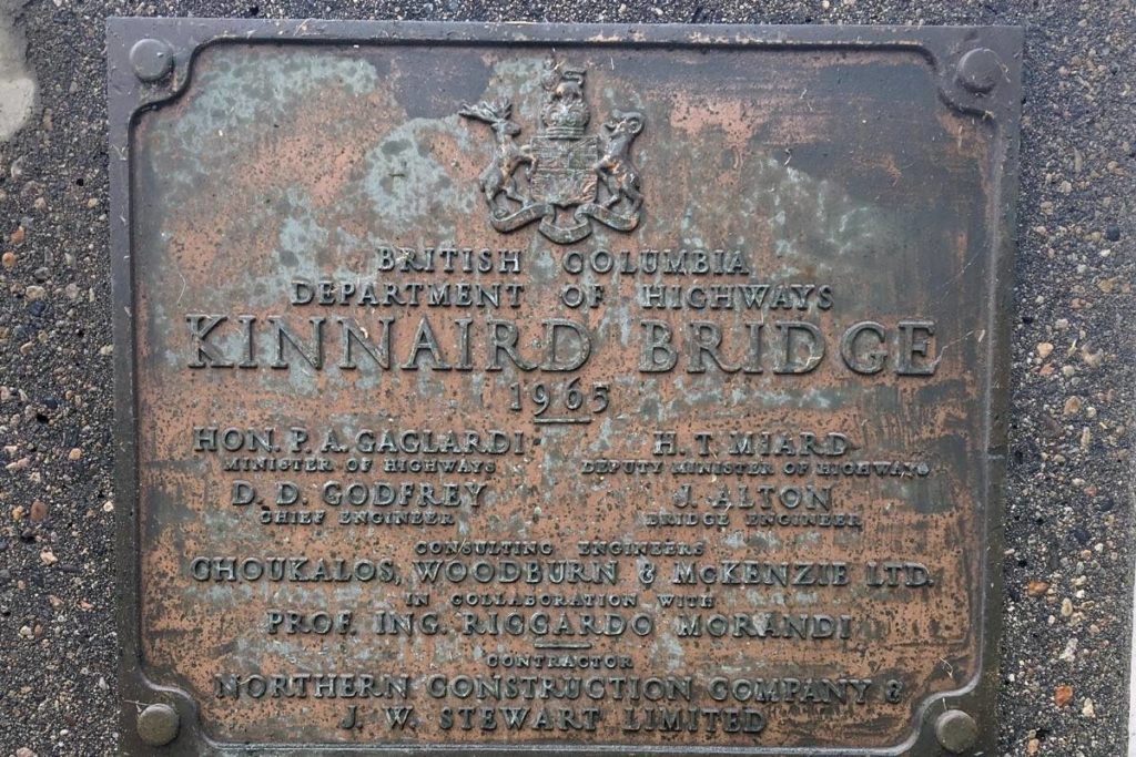 Riccardo Morandi's name can be found on the dedication plaque for the Kinnaird Bridge. (Photo by Betsy Kline)