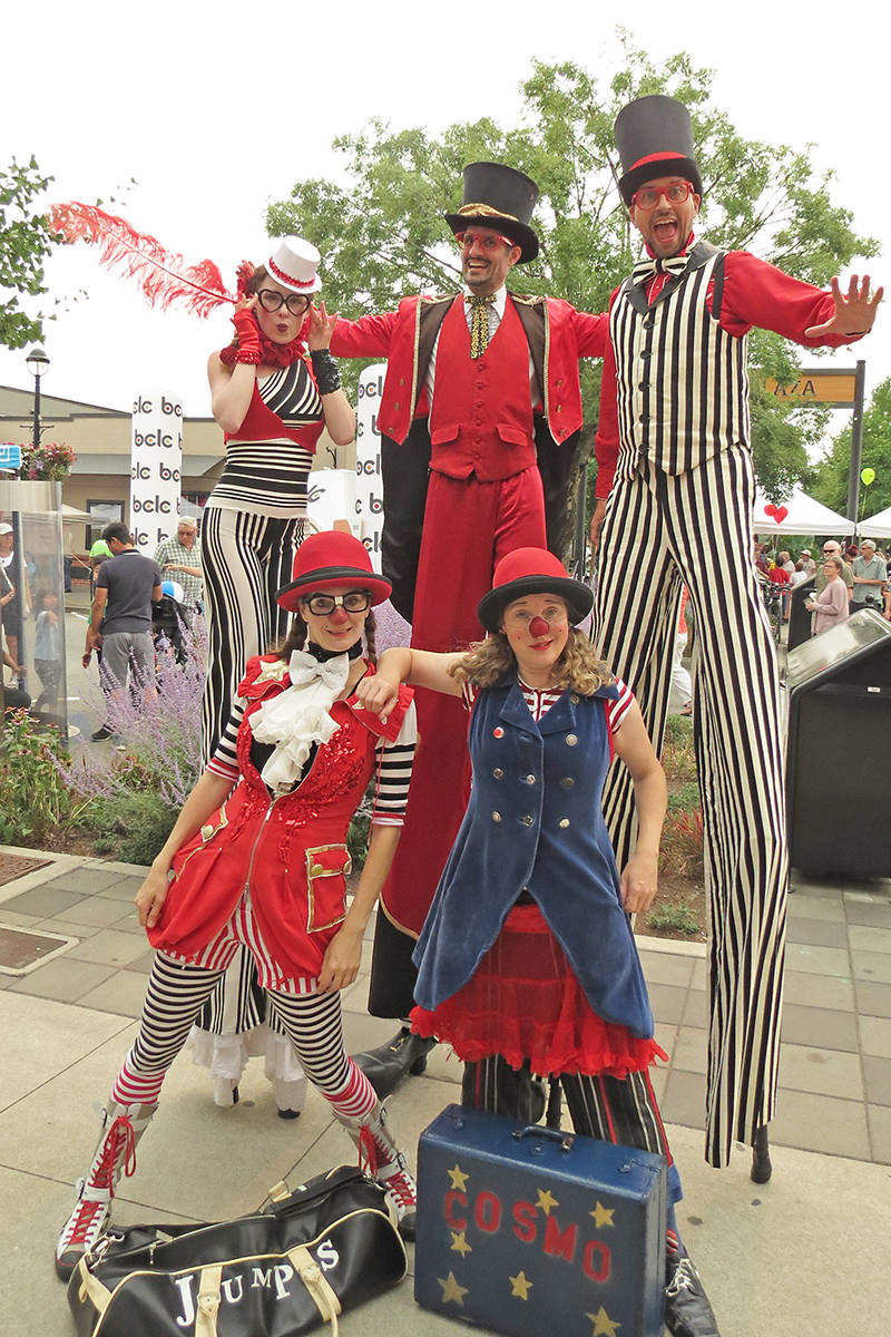 Some of the colourful performers at Arts Alive in Langley City. Clowns (front row): M. Pyress Flame, Melissa Aston. Stilt walkers (back row) Ariel Amara, Neezer, Lindsey Shepek. Photo courtesy Lisa Reichert from Discover Langley City