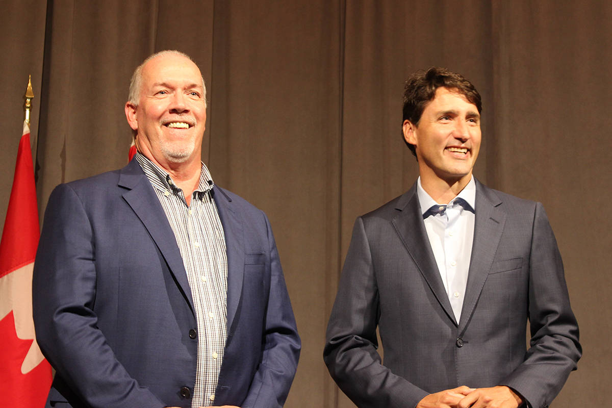 B.C. Premier John Horgan and Prime Minister Justin Trudeau meet at Nanaimo's Vancouver Island Conference Centre. NICHOLAS PESCOD/The News Bulletin