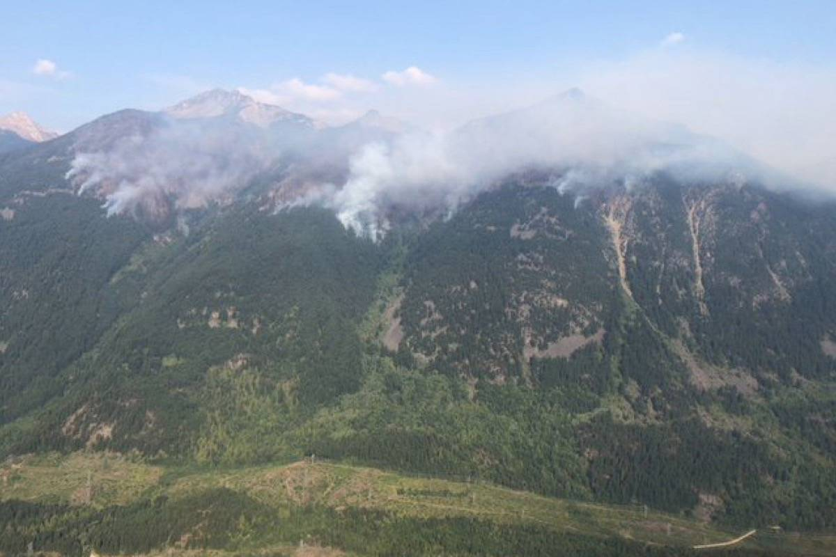 The Grouse Greek fire in mid-August. (BC Wildfire Service)