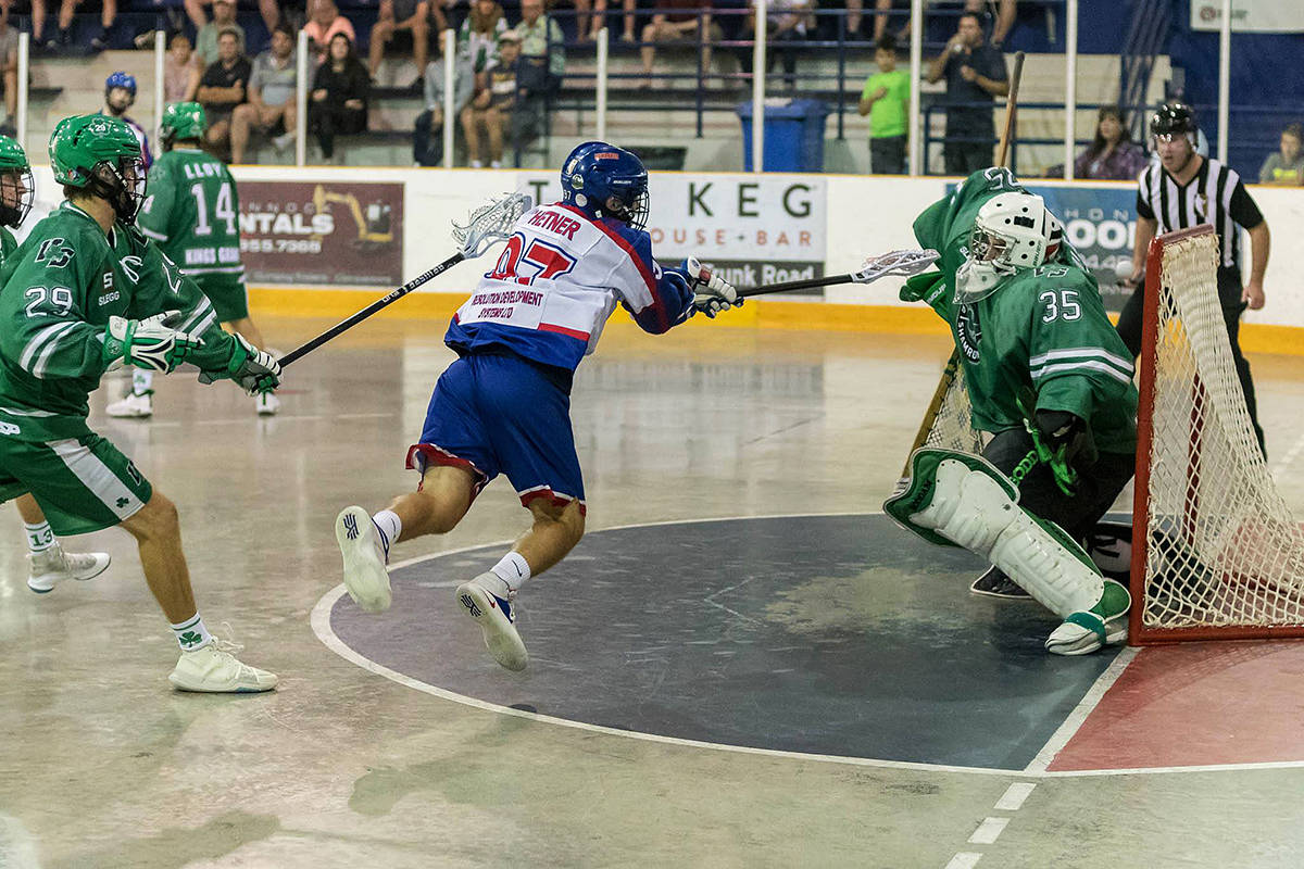 Jean-Luc Chetner, seen here putting the ball past the Shamrocks netminder, has provided secondary scoring for the Burrards. (Paul Evans Photography)