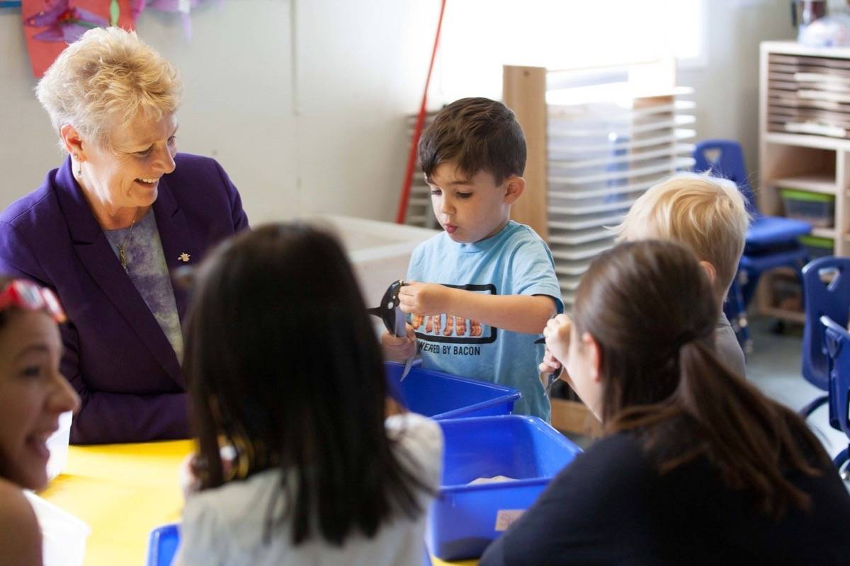 Children and Family Development Minister Katrine Conroy visits a daycare, July 2018. (B.C. government)