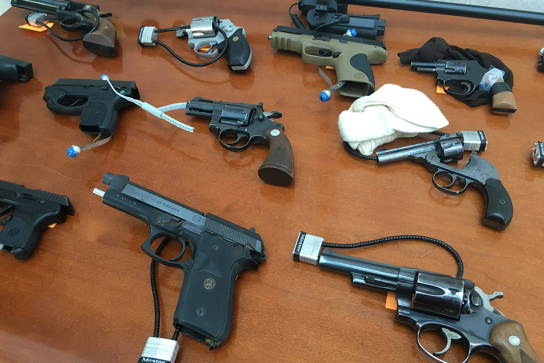 A picture of some of the guns seized on the Canadian side of the Osoyoos border.                                Tara Bowie/Western News