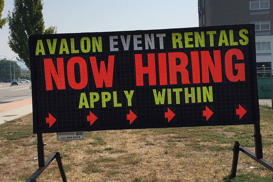 Job opening signage has been a common sight around Kelowna this summer. Photo: Capital News files