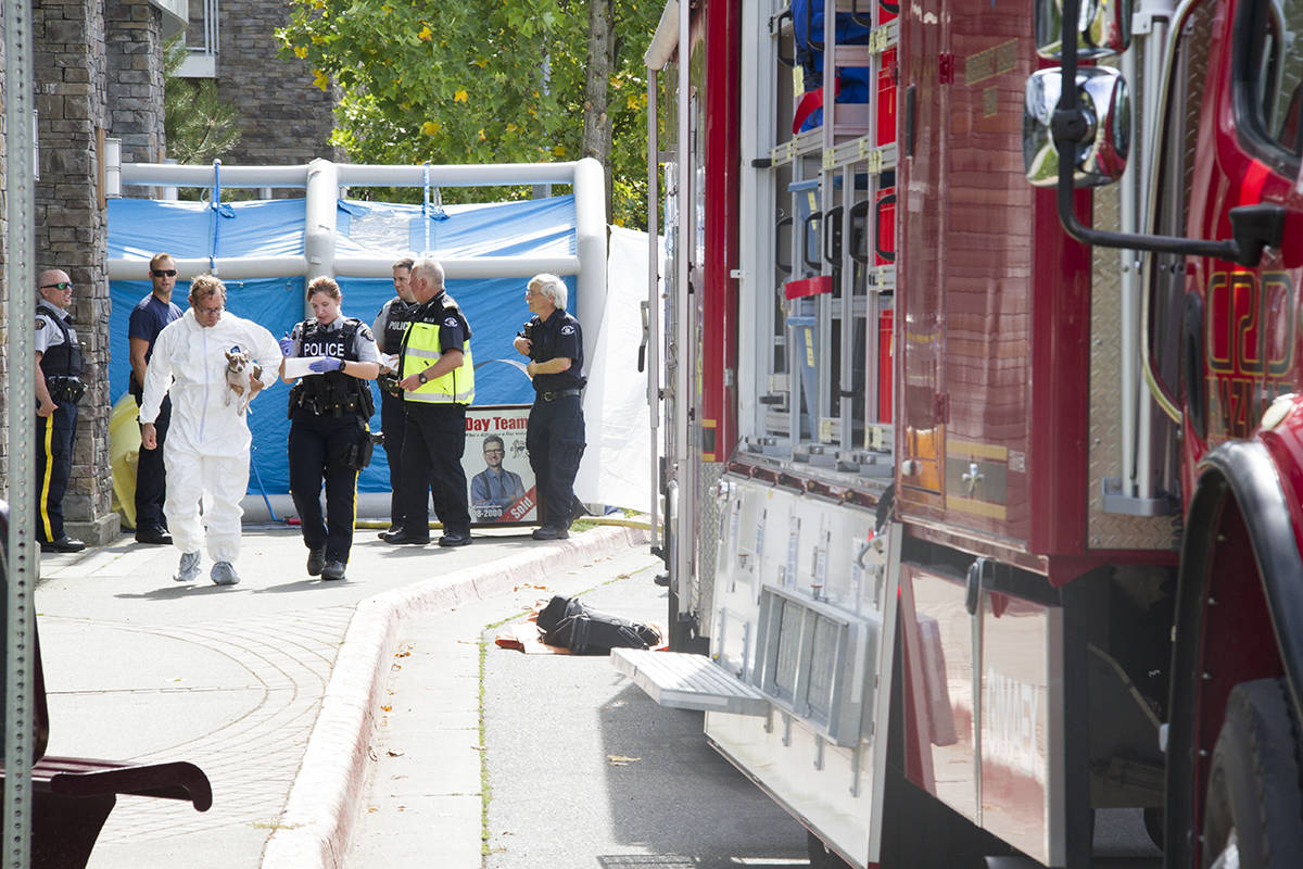 Suspicious white powder was sent to a law office in the Reflections Building in Langford on Sept. 7, prompting a hazmat response along with police, fire and ambulance. (Katherine Engqvist/Black Press)