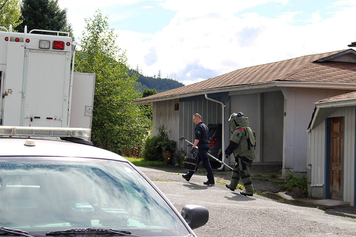 THOMAS KERVIN PHOTO                                RCMP were on the scene in blast suits investigating the victim's residence in Port Alice on Wednesday, Sept. 12.