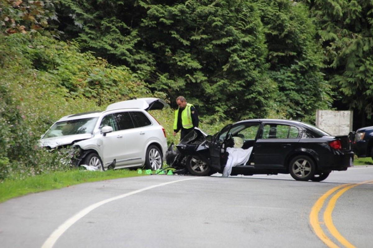 A woman is said to have suffered serious injuries in a head-on collision on Vedder Mountain Road near Giesbrecht Road Saturday morning. Shane MacKichan/Submitted photo