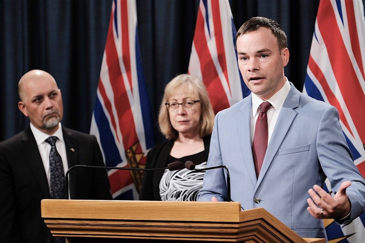 MLAs Adam Olsen (left) Ronna-Rae Leonard and Spencer Chandra Herbert want the cap for automatic rent increases lowered. (B.C. government)