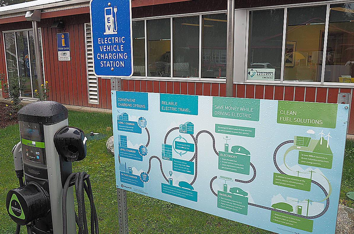 an electric vehicle charging station in Duncan B.C. (Black Press files)