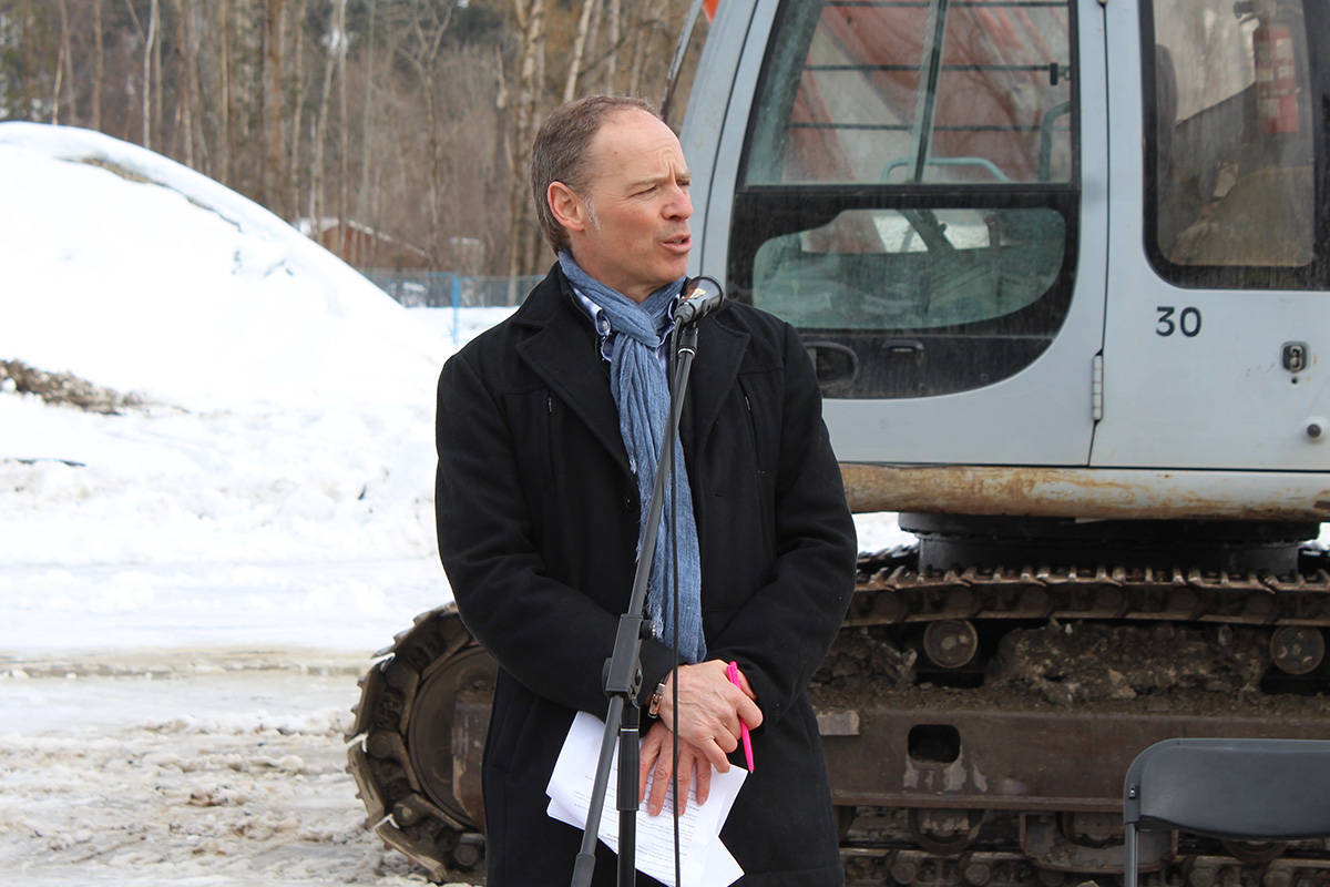 Vernon Morning Star files                                True Leaf founder and CEO Darcy Bomford, gives a brief speech before the official ground-breaking at the True Leaf cannabis production facility in Lumby earlier this year.