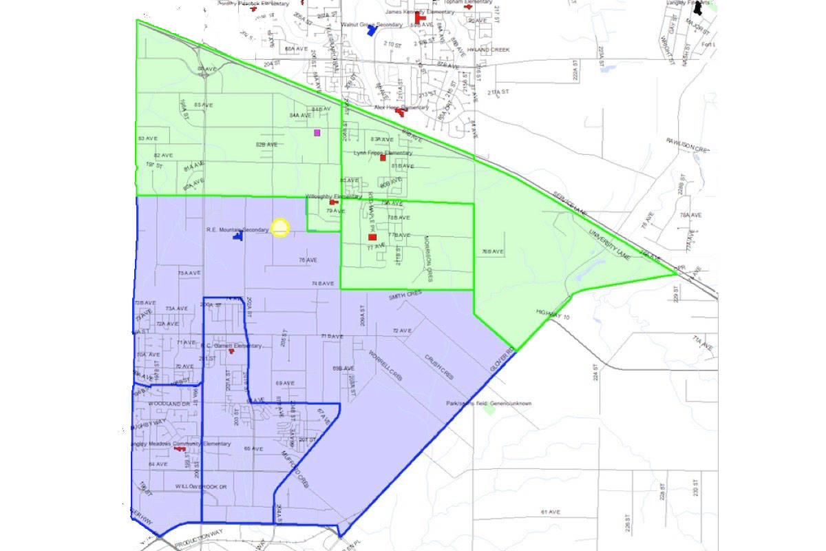 The area highlighted green is the catchment area for Yorkson Creek Middle School and purple is the catchment for the new Peter Ewart Middle School. Courtesy Langley School District