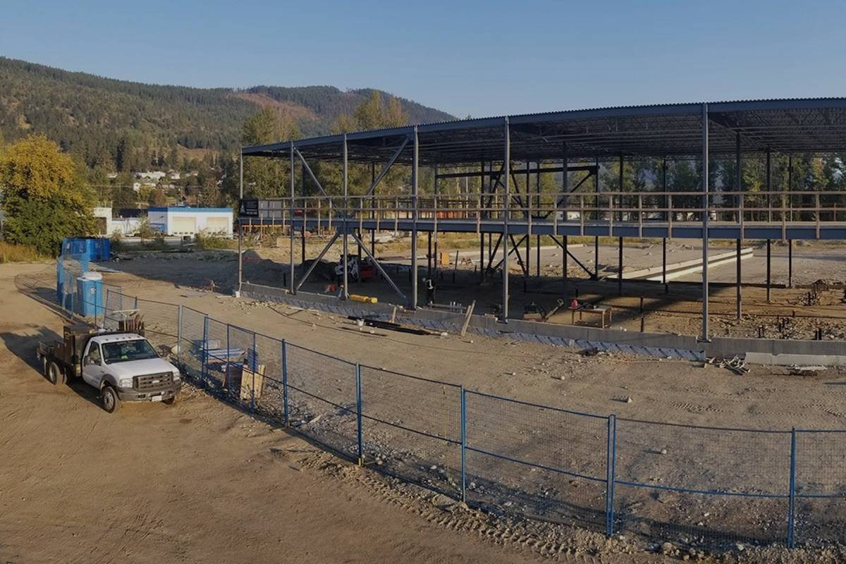 Lumby site under construction for True Leaf cannabis cultivation facility. Photo: Black Press