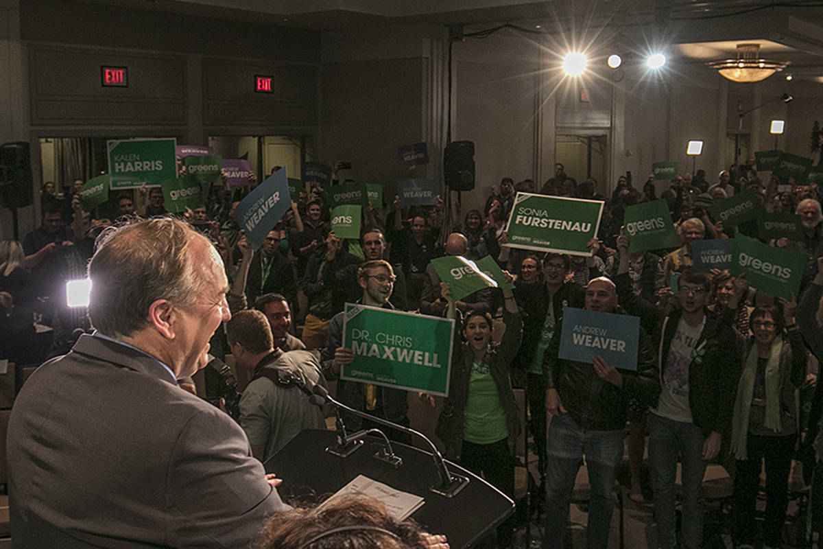 Andrew Weaver is welcomed by his supporters at the B.C. Green Party Headquarters at the Delta Ocean Pointe Resort May 9, 2017. (Arnold Lim/News staff)