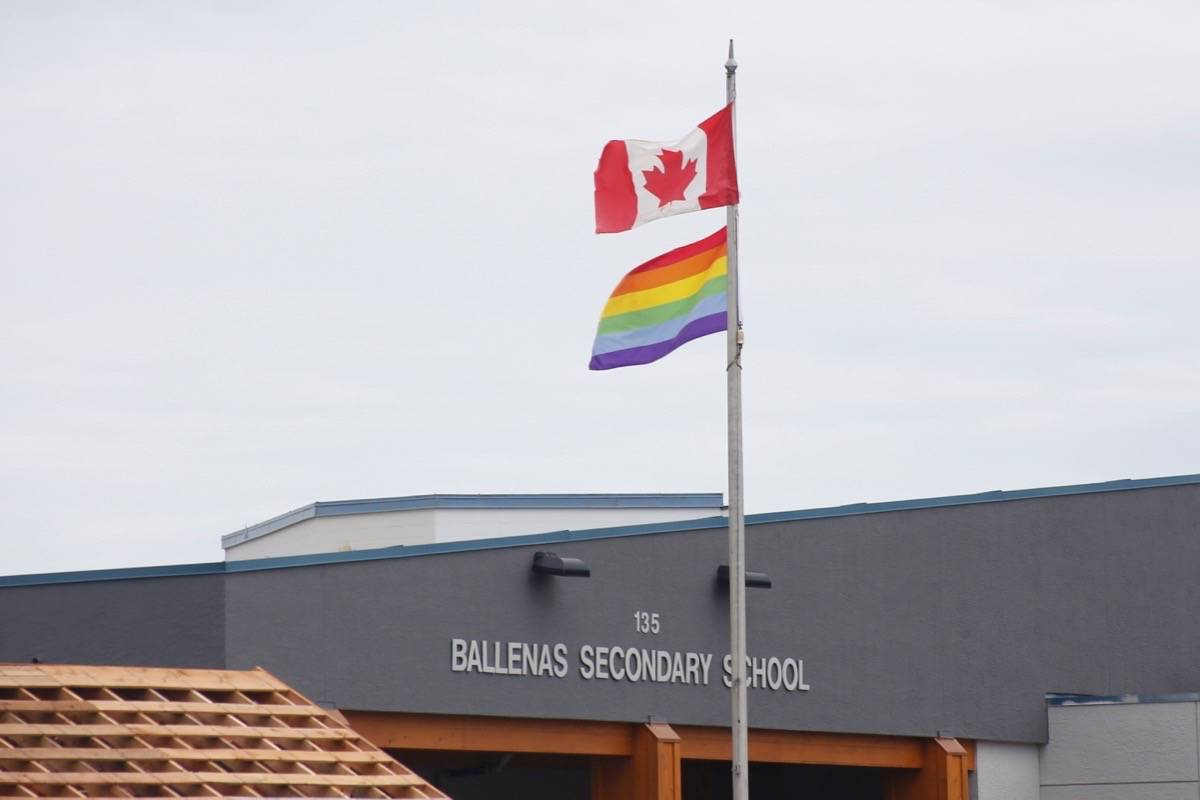 NEWS File Photo Ballenas Secondary School raised the rainbow flag last year in support of its LGBTQ community. But the school and the school district efforts are more than just symbolic, with ongoing work to change policies and educate staff and students using a new B.C. wide plan called SOGI 123.