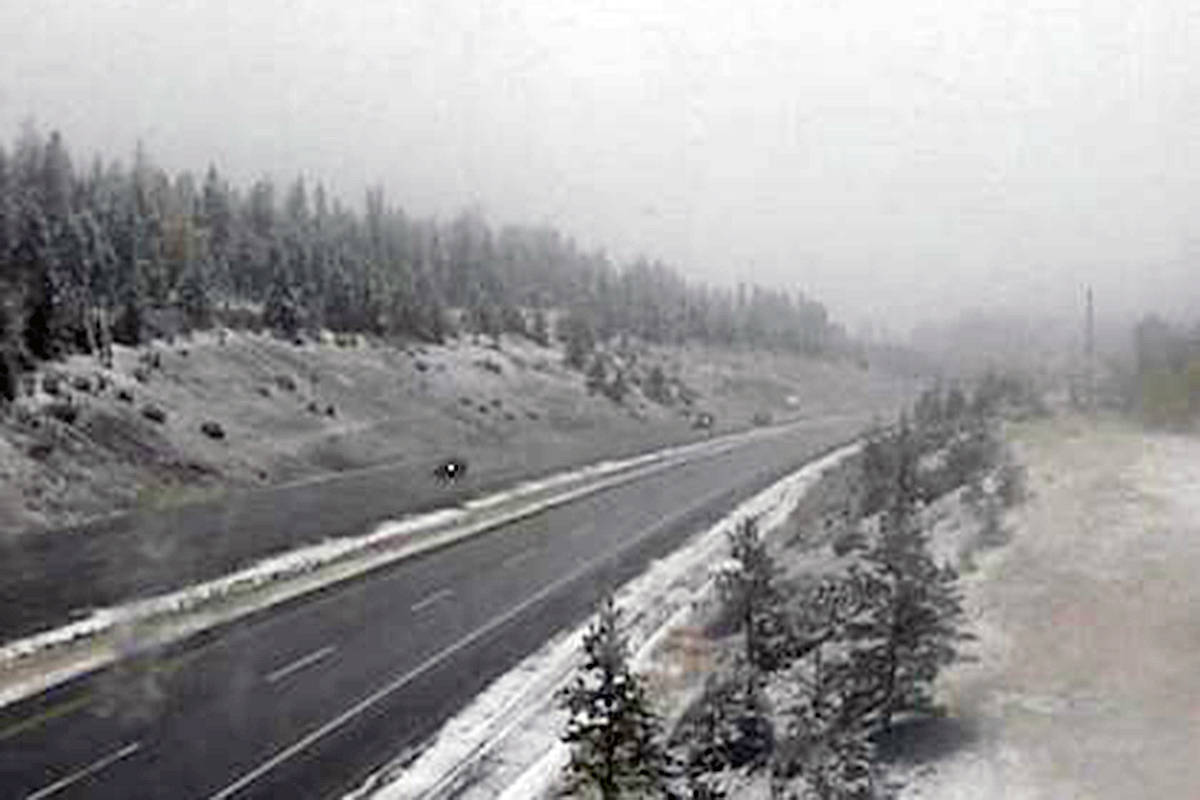 A DriveBC highway webcam shows snow on the Coquihalla Highway approximately 20 kilometres south of Kamloops. (DriveBC Highway Webcam)