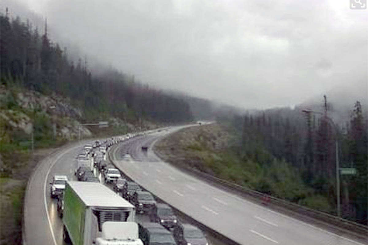 A multiple-vehicle accident is causing major delays on the Coquihalla Highway near the Great Bear Snowshed Sunday, Sept. 30. (DriveBC Highway Webcam)