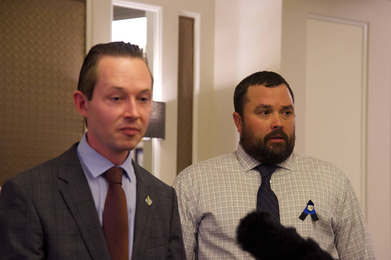 Conservative MP Michael Cooper (left) and Brad Ashenbrenner, husband of late RCMP officer Sarah Beckett, are advocating to make changes to Bill C-75 in regards to impaired driving offences in the Canadian Criminal Code. (Nicole Crescenzi/News Staff)