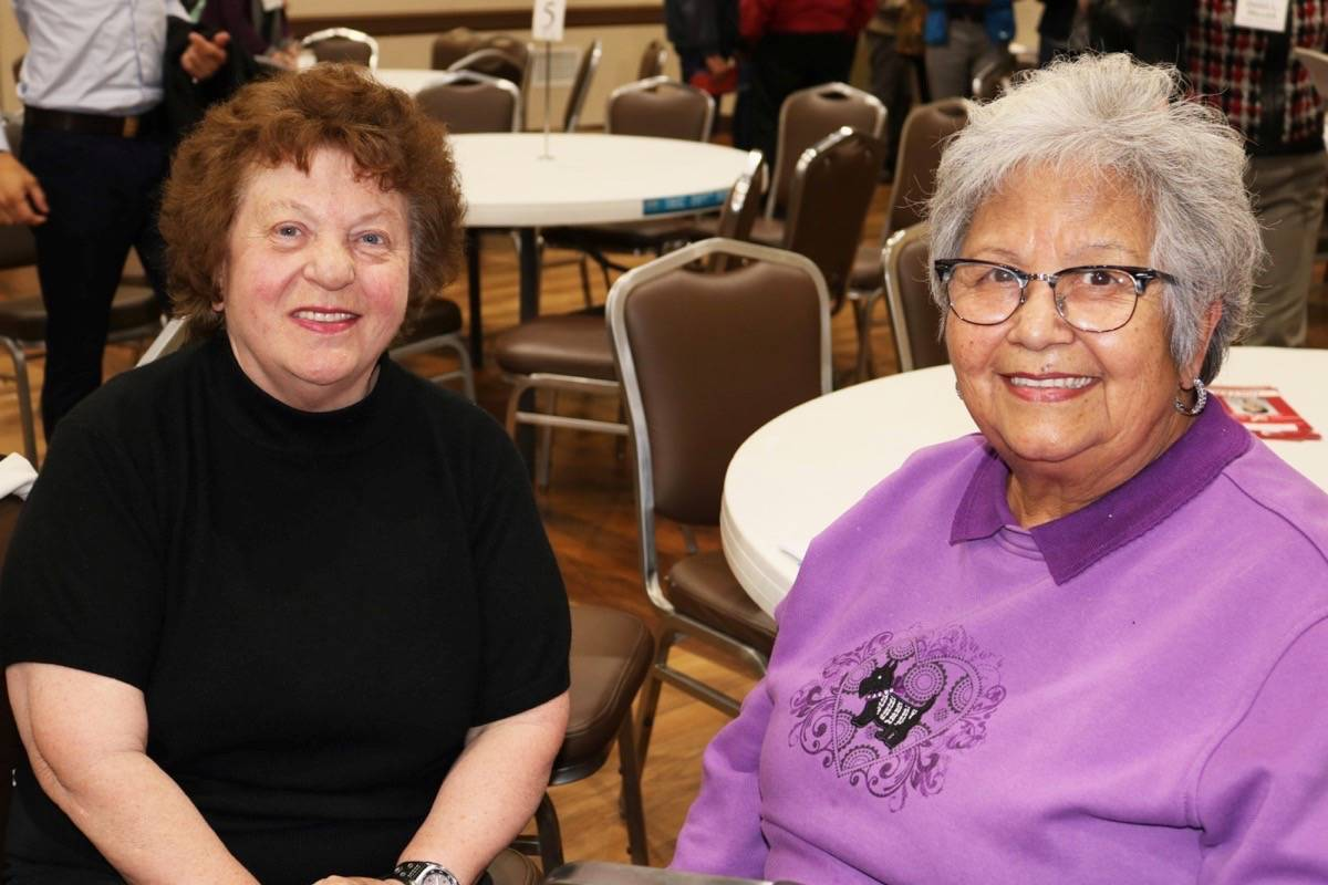 Senior residents (left) Pauline Koch and Maria Stiglich went to the all-candidates meeting to help finalize their votes for the municipal election. Miranda Fatur Langley Times