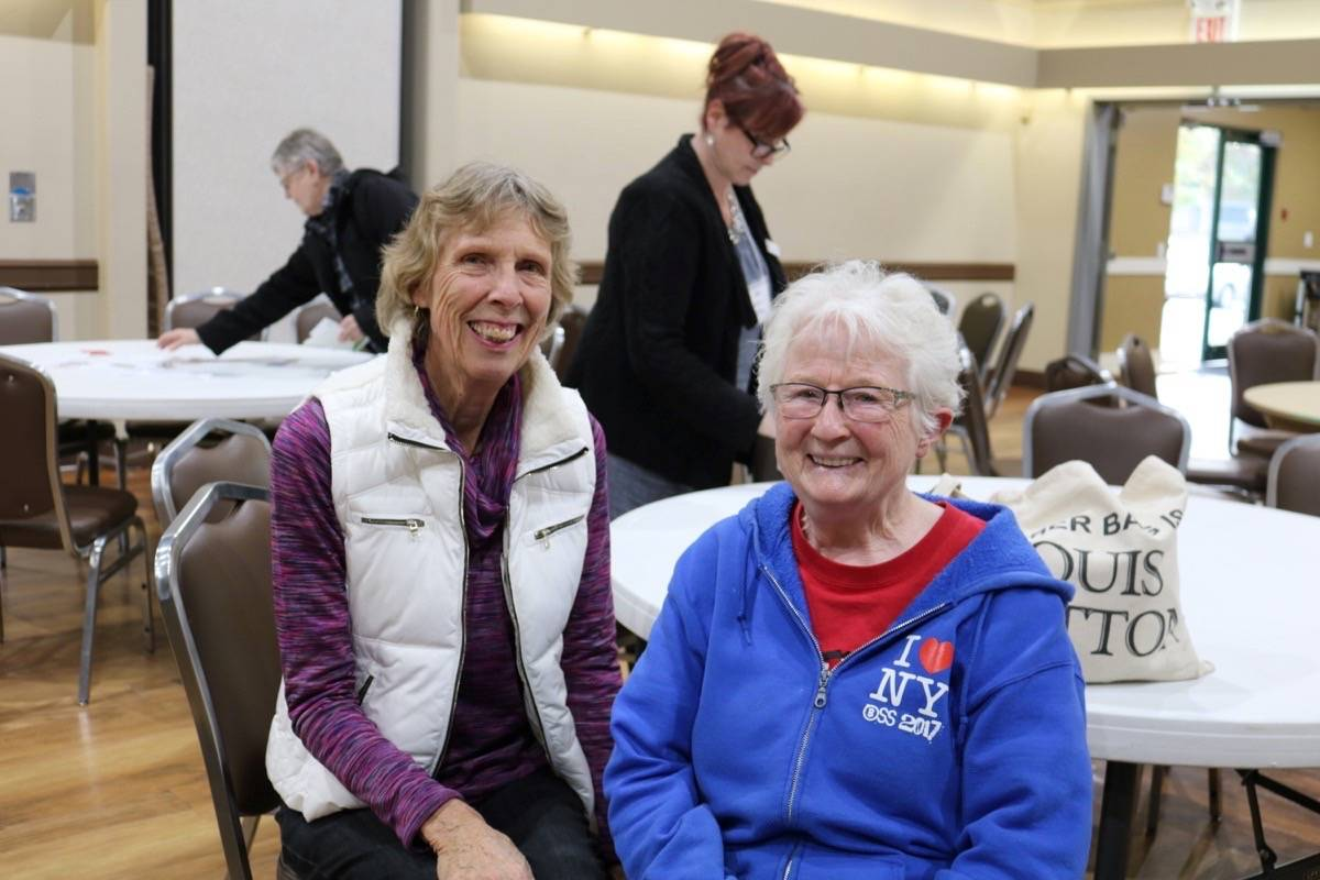 Diana Sampson (left) and Ruth Stewart were among the seniors that came out to the Township all-candidates meeting. Miranda Fatur Langley Times