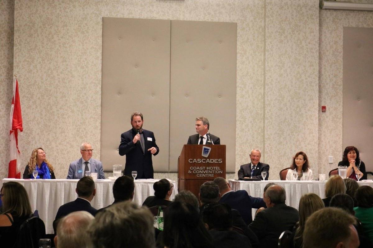 All six mayoral candidates for the City and Township of Langley take turns answering pre-selected questions. Miranda Fatur Langley Times