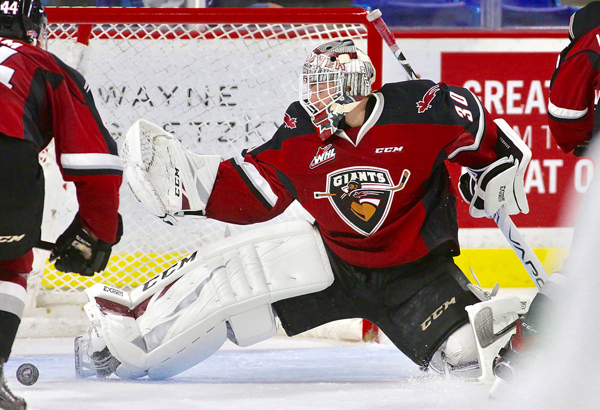 Giants' goaltender David Tendeck has been picked for the Canada Russia Series next month. (Rik Fedyck/Vancouver Giants)