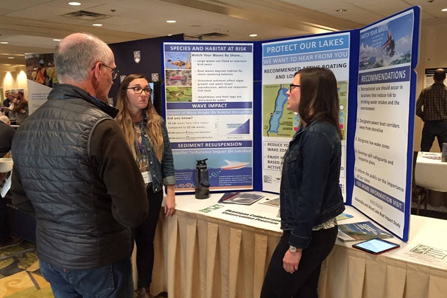 Information booth on recreational boating survey impact on Kalamalka and Wood Lakes was one of the exhibits at the Environmental Flow Needs water management conference in Kelowna this week. Photo: Barry Gerding/Black Press