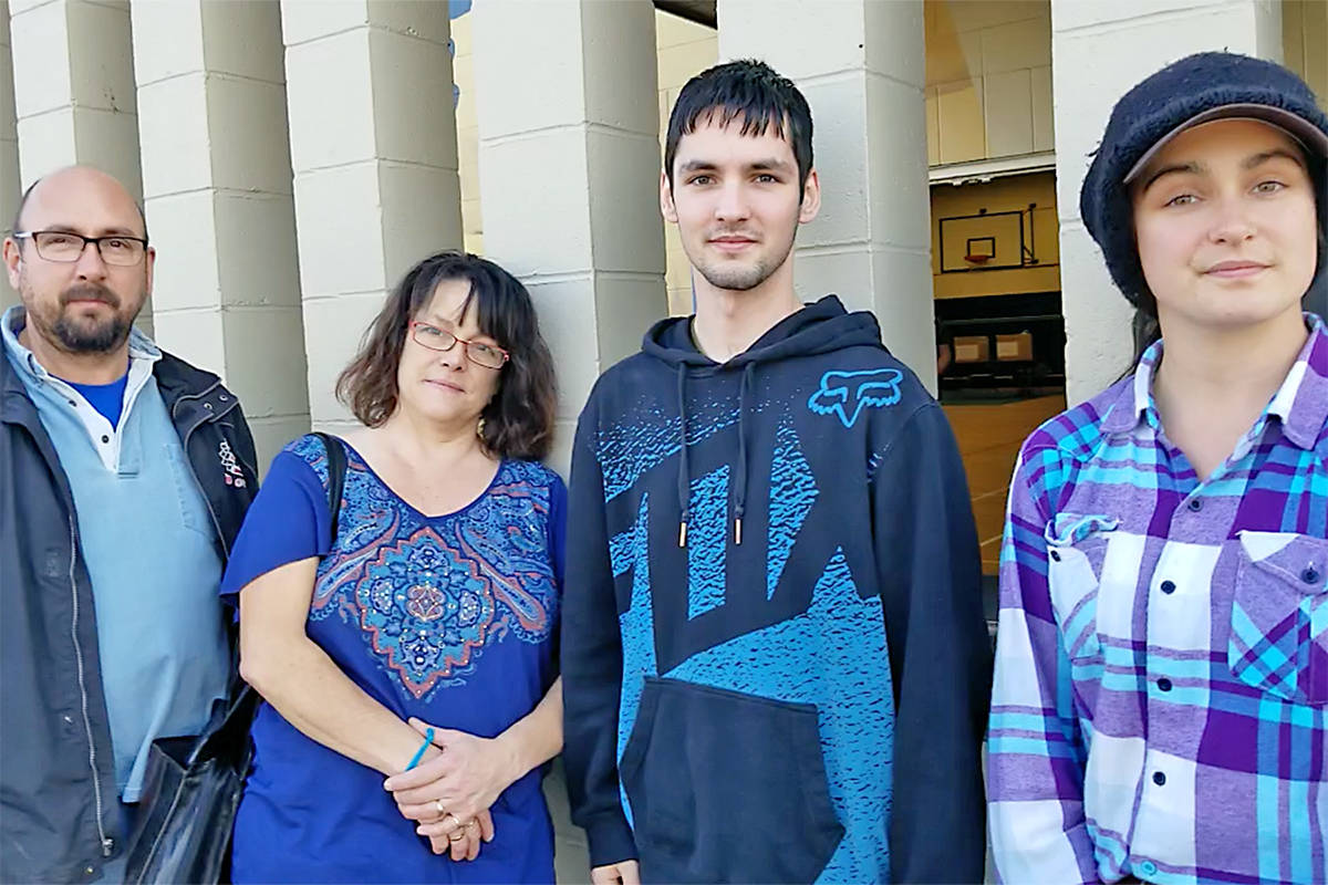 The Roberts family opted to cast their ballots together at the Langley City polling station. L to R, David, Crystal, Johl and Kaitlynn. Dan Ferguson Langley Times