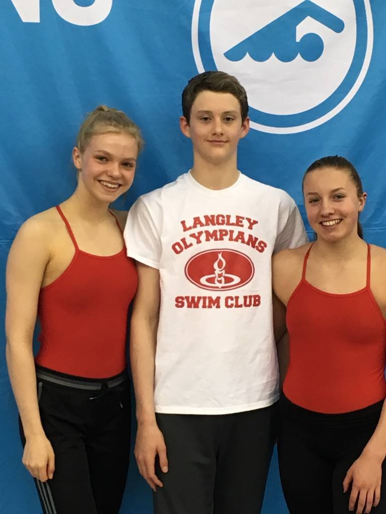 Langley Olympians' Bailey Herbert, Hugh McNeill and Josie Field were selected to be a part of Swim BC's Provincial Training Squad. File photo