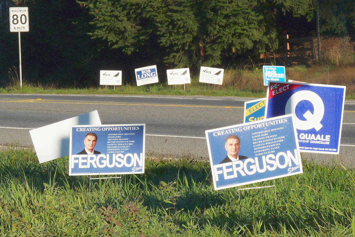 Some of the roadside campaign signs from the municipal election. Langley council candidate Gary Hee wants to recycle the plastic signs into emergency housing for the homeless. Dan Ferguson Langley Times