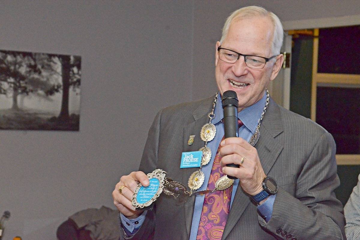 Mayor Jack Froese gives a speech on election night. Blackpress photo
