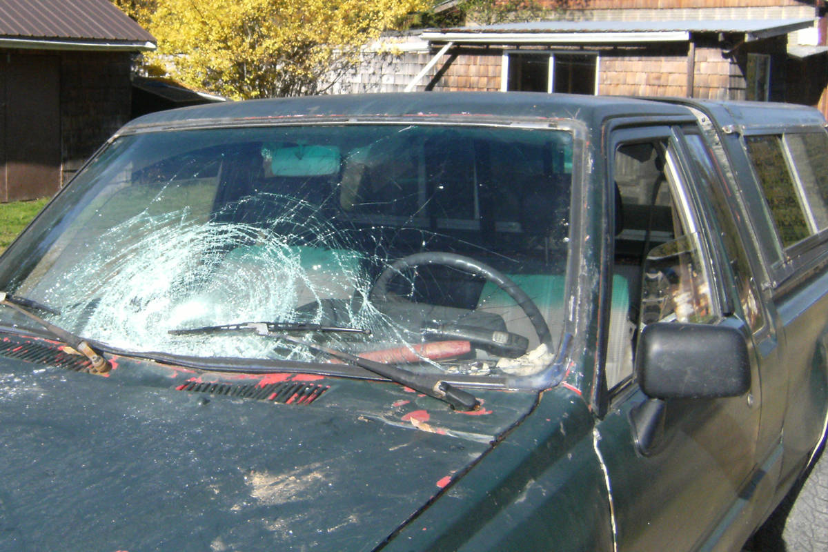 Peter Marshall says the windshield of his 1987 Toyota pickup truck was smashed by falling ice. The incident occurred near Nanaimo, B.C. (Photo submitted)