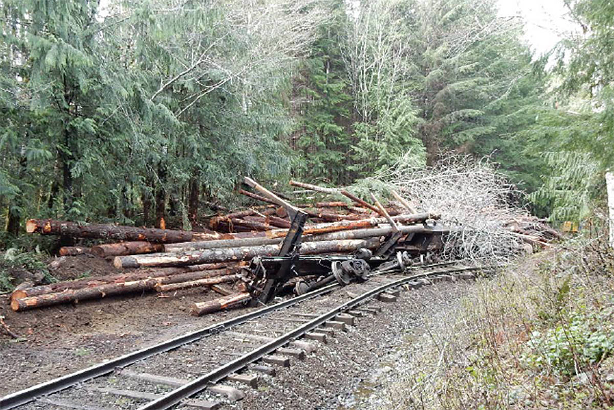 A RCMP photo included in a WorkSafeBC report shows the scene of a fatal derailment in Woss on April 20, 2017. A faulty coupler released 11 cars down the track, striking a work crew, killing three and seriously injuring two.