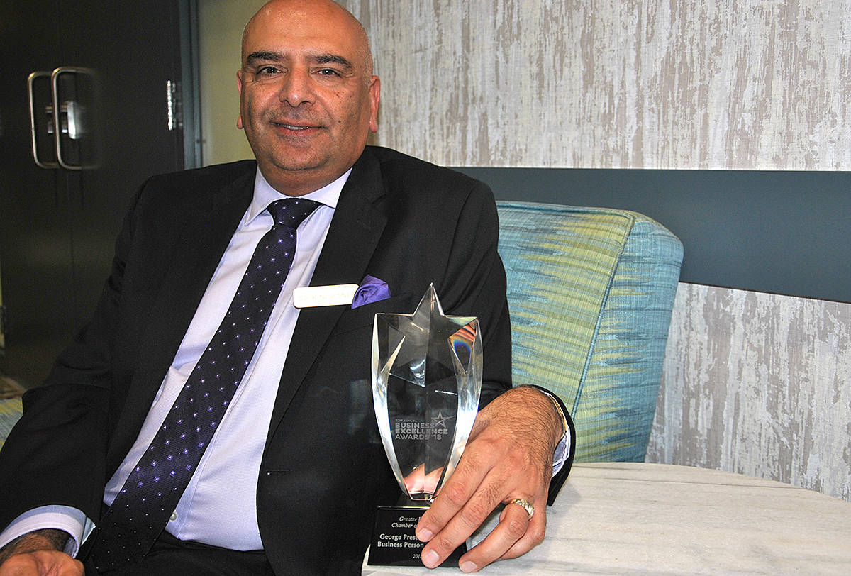 Nick Nuraney, owner of six A&W restaurants in Langley alone, was crowned business person of the year by the chamber of commerce on Thursday. (Black Press)
