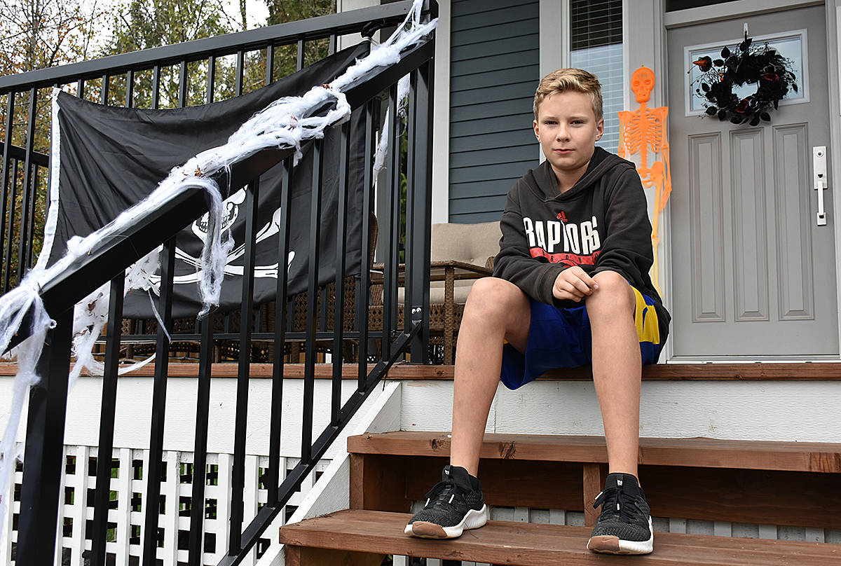 Callum Davie was born without a left forearm, and had a prosthetic he uses for bike riding stolen, along with the bike, on Tuesday morning. (Neil Corbett/THE NEWS)