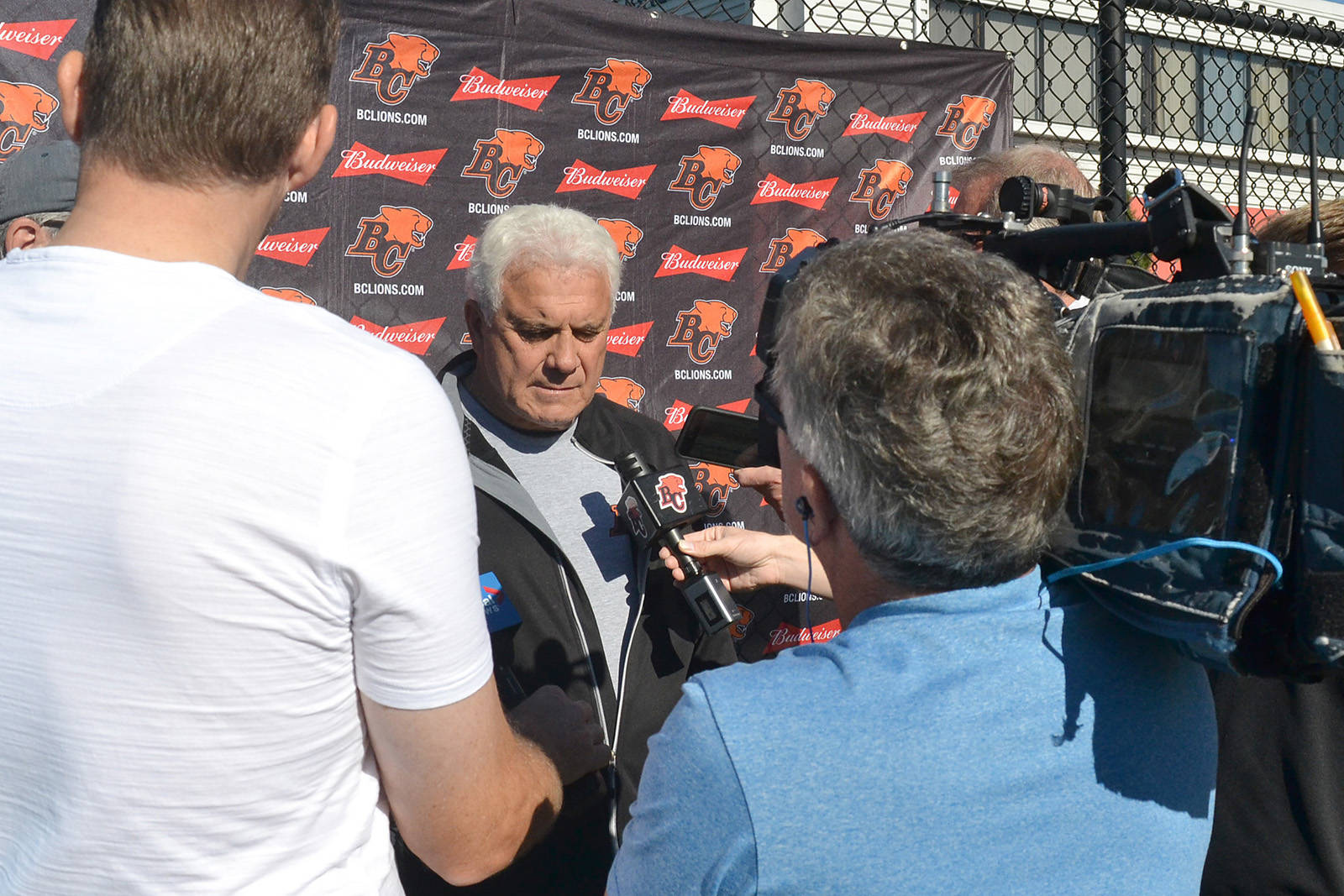 BC Lions coach Wally Buono, a South Surrey resident, speaks with the media after a practice earlier this month at the team's training facility. (Nick Greenizan photo)