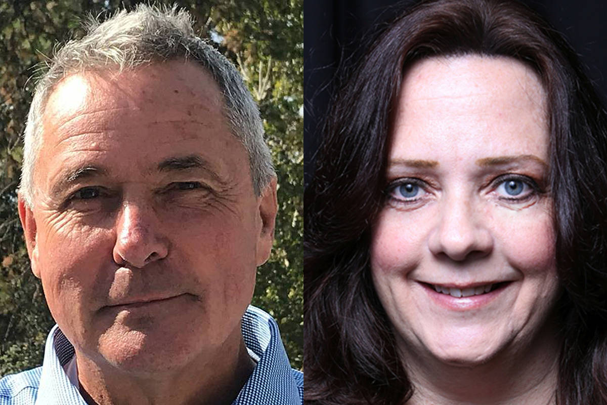 Challenger Harry Gough and incumbent Cindy Fortin were tied in votes following a recount of the Oct 20 Peachland mayoral election result. So a B.C. judge had to draw the name of the winner and she drew Fortin's name. —Image: Alistair Waters/Capital News